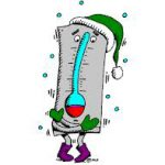 Freezing thermometer with green hat and purple boots