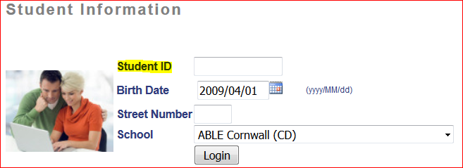 A screen capture from the Bus Stop information page showing the inputs for Student ID, Birth Date, Street Number, and School. The Student ID field is highlighted yellow.