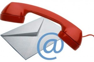 A red telephone overlaying a white envelope.