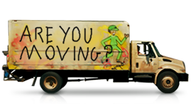 "Large moving truck with ""Are You Moving"" painted on its side."