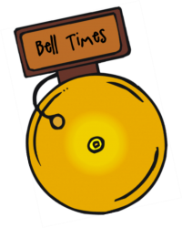 Yellow bell with Brown sign above it with Black writing of Bell Times